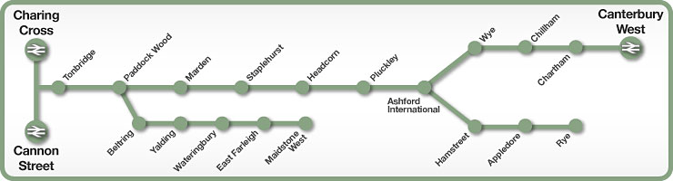 Charing Cross to Canterbury via Tonbridge & Ashford rail line map
