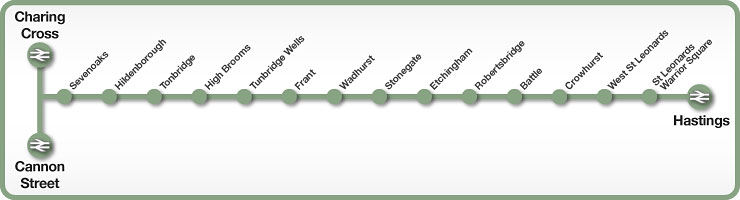 Charing Cross to Hastings rail line map