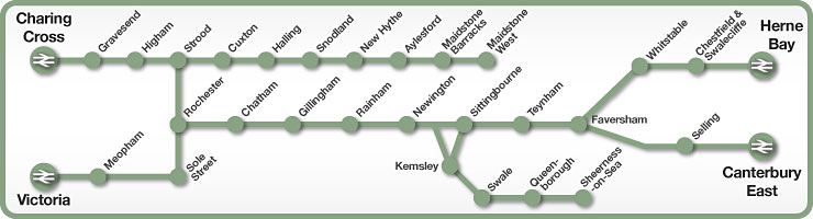 Charing Cross to Herne Bay & Canterbury rail line map