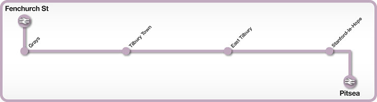 Fenchurch Street to Pitsea rail line map