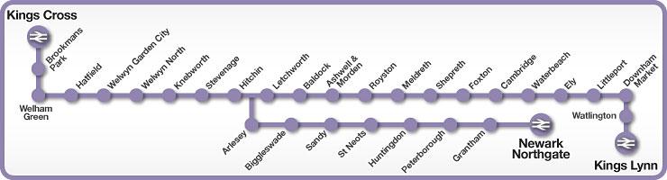 Kings Cross to Newark Northgate and King's Lynn rail line map
