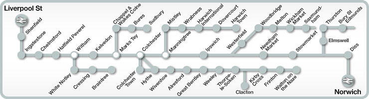 Liverpool Street to Norwich rail line map