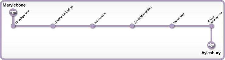 Marylebone to Aylesbury rail line map