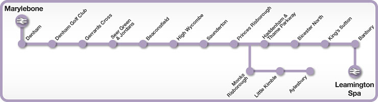 Marylebone to Leamington Spa rail line map