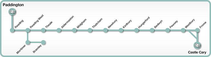 Paddington to Castle Cary rail line map