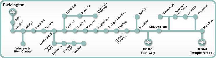 Paddington to Reading & Bristol rail line map