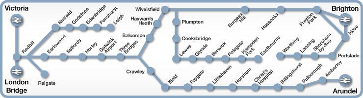 Victoria to Brighton & Arundel rail line map