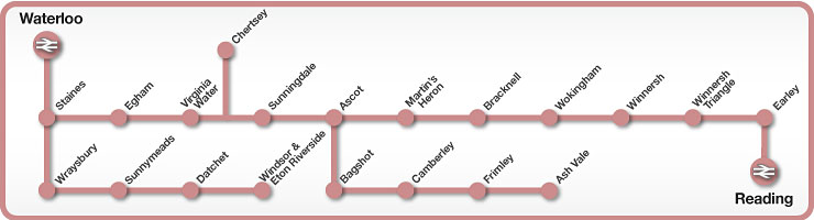 Waterloo to Reading rail line map