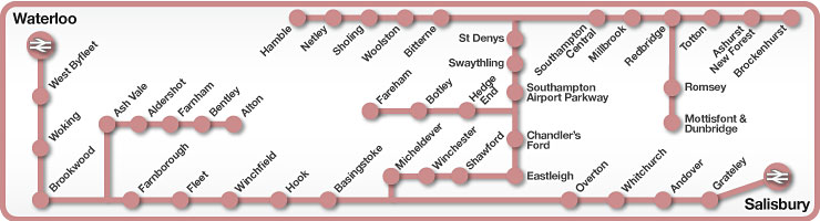 Waterloo to Salisbury & Southampton rail line map